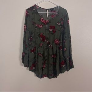 Torrid Green with Red Floral Long Sleeve Blouse